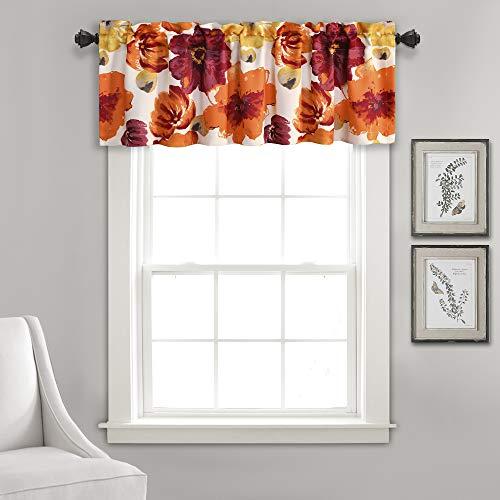Lush Decor Window Curtain Valance Leah Floral Insulated Grommet, 18