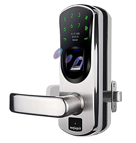 WeJupit V8 Keyless Entry Smart Door Lock, Fingerprint Stainless Steel Touchscreen with Electronic Keypads, Spare Key, Two-Factor Authentication, Digital Biometric Auto-Lock (Left Handle Only)