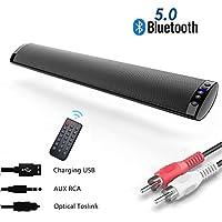 Barras de Sonido para TV, Bluetooth 5.0 Sonido Envolvente Altavoz para TV/Home Cinema, Apoyo RCA/AUX/Óptico/USB/TF Tarjeta, Compatible para TV, Moviles, Tableta,Montable en la Pared