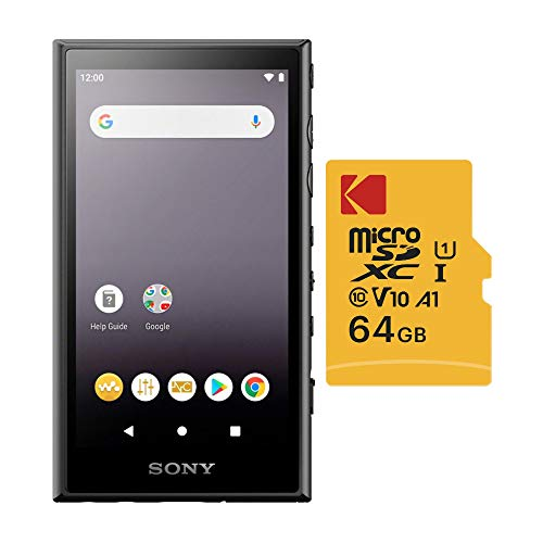 Sony NW-A105/B 16GB Walkman Hi-Res Portable Digital Music Player with 64GB MicroSD Bundle (2 Items)