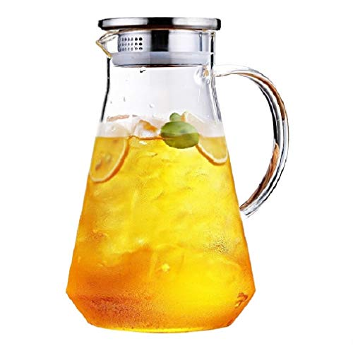 SmartHom 68 Ounces Glass Pitcher, Drip-Free Water Pitcher With Tight Lid and Pretty Brush