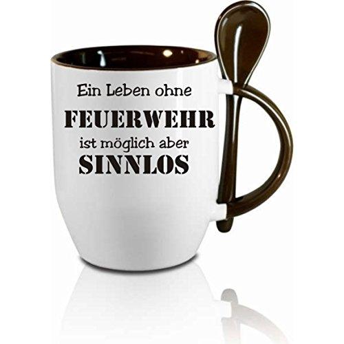 Creativ Deluxe Tasse m. Löffel EIN Leben ohne Feuerwehr ist möglich Aber sinnlos Löffeltasse, Kaffeetasse mit Motiv,Bürotasse, Bedruckte Tasse mit Sprüchen oder Bildern -