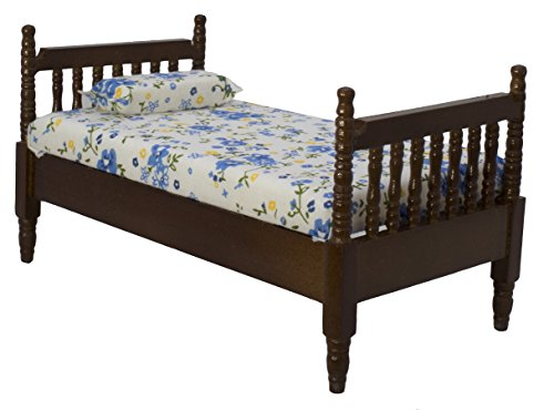 Inusitus Wooden Dollhouse Queen Bed | with Mattress & Pillow | Dolls House Accessories & Toys | 1/12 Scale (Dark-Brown)