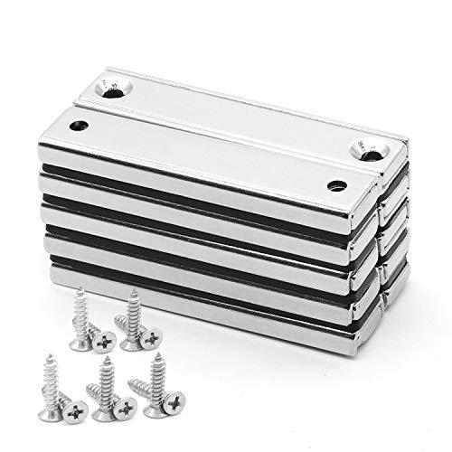 YSYBL Neodym Magnete,Extra Stark Magnet Schrauben,60mmx13.5mmx5mm Magnet Anschraubbar 70lbs (32KG) Magnete zum Schrauben,N52 Rare Earth Magnet mit Loch Multi-Use