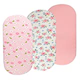 Bassinet Sheets Set 3 Pack for Baby Girl, Stretchy Soft Jersey Knitted Fitted Sheet Universal for Oval Rectangle and Hourglass Bassinet Mattress, Pink Floral