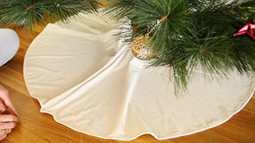 Davis Gorton Christmas Tree Skirt 48 Inch Large Plush White Velvet Skirt for Artificial or Fresh Cut Christmas Tree Skirts Hanukkah Tree Skirt Xmas Tree Skirt | Magnetic Closure Clearance Decorations