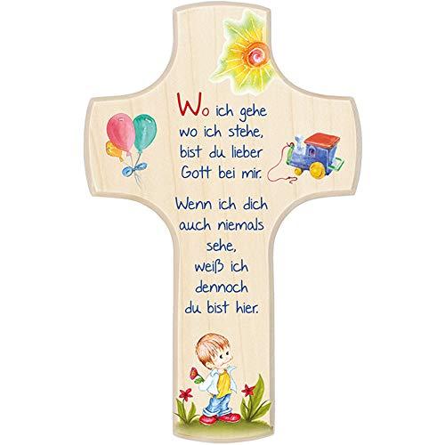 Fritz COX® - Kinderkreuz aus Holz 'Wo ich gehe, wo ich stehe' - Kinder-Kreuz Motiv JUNGE