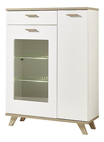Germania 2291-221 Standvitrine im skandinavischen Design GW-Oslo in Weiß/Absetzungen Sanremo-Eiche-Nachbildung, 98 x 135 x 40 cm (BxHxT)