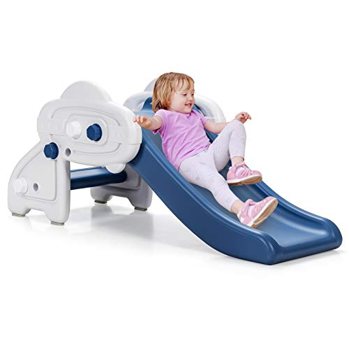GYMAX Kids First Slide, UFO Freestanding Slides with 2 Widen Climb Steps and Handrails, Indoor & Outdoor Activity Centre for Children Toddler Baby