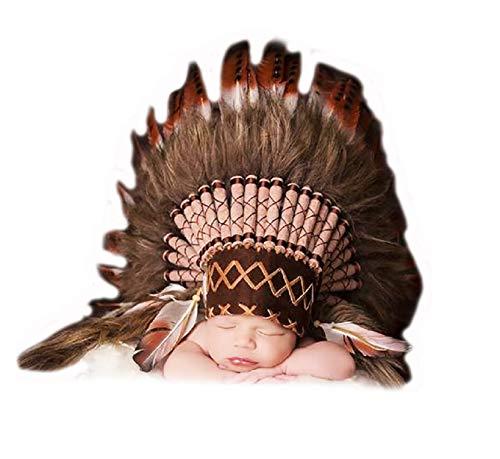 KARMABCN K03 para 0 a 9 Meses Bebé/Recién Nacido: Sombrero Indio para los más pequeños! Disfraz Headdress