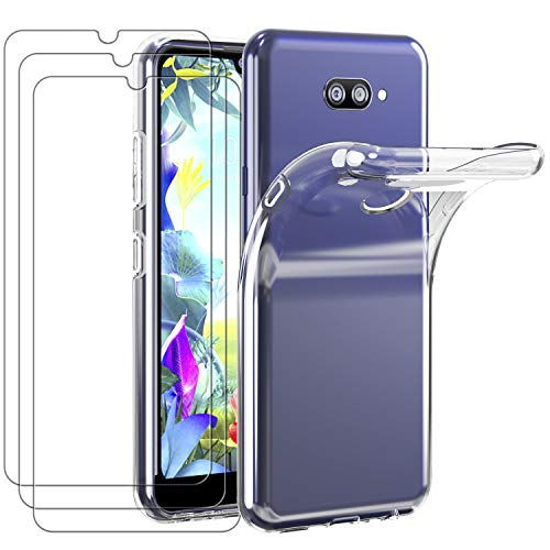 iVoler Custodia Cover per LG K40s 2019 + 3 Pezzi Pellicola Vetro Temperato, Ultra Sottile Morbido TPU Trasparente Silicone Antiurto Protettiva Case per LG K40s 2019