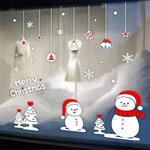95sCloud Aufkleber Weihnachtsmann Schneemann Rentier Weihnachten Fensterdeko Fensterbilder Winterlandschaft Weihnachtselche Wandtattoo Deko Weihnachtssticker Frohe Weihnachtsdeko (A)