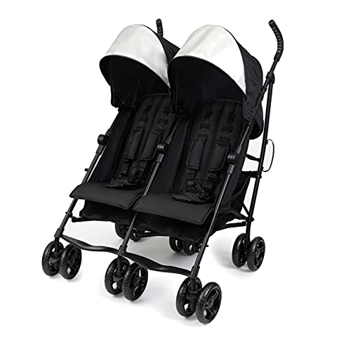 Summer Infant 3Dlite Double Convenience Lightweight Double Stroller for Infant & Toddler with Aluminum Frame, Two Large Seats with Individual Recline, Extra-Large Storage Basket, Black