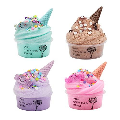 K-Park Paquete de 4 manteca de limo de fruta kit de lodo de color helado, suave y elástico y no pegajoso, juguete de lodo DIY para niñas y niños, recuerdos de fiesta para niños y niñas elegantes