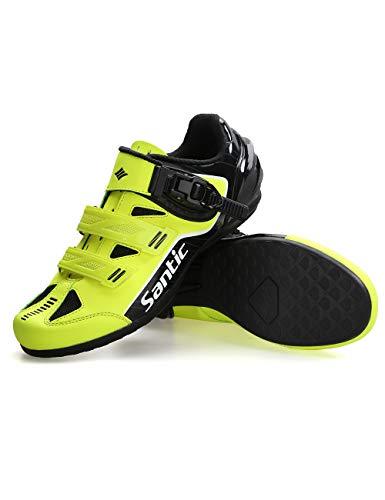 Santic Scarpe Bici da Corsa Scarpe Ciclismo MTB Scarpe Bicicletta con Suola Piatta per Bici da Strada e MTB per Uomo e Donna Verde EU 40