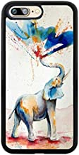 iPhone Case for iPhone 7/8, by Soft TPU and PC Hard Back Cover Shock-Proof Protective Case [Anti-Slippery] (Watercolor Elephant Spray Color Design)