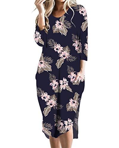 CNFIO Vestidos de Fiesta Mujer Casual Largos Midi Flores Manga Larga Vestido Playa Mujer Bolsillos Dress