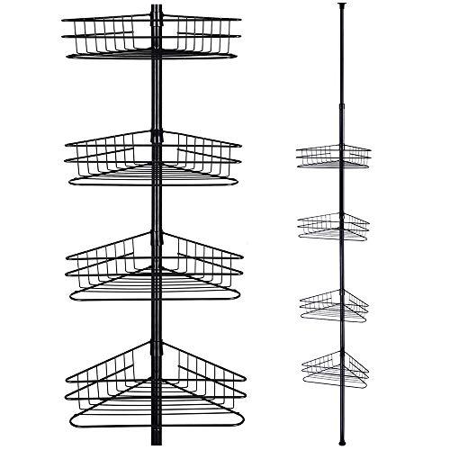 Yescom 4 Tier Metal Bathroom Telescopic Corner Shower Shelf Caddy Pole Wall Rack Storage Organizer Soap Holder Black