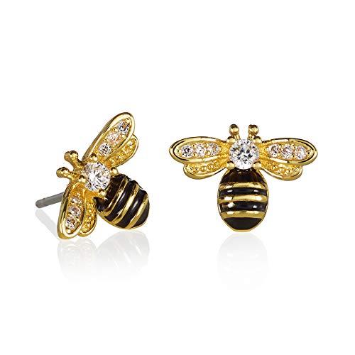 Namana - Orecchini a perno a forma di ape in argento o oro, da donna, con confezione regalo e 18ct base metallo placcato oro, colore: Oro, cod. 70632