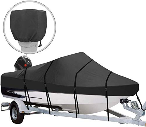 "RVMasking Heavy Duty 600D Polyester Trailerable Boat Cover Black for V-Hull Runabouts Outboards and I/O Bass Boats (Length:17'-19' Beam Width: up to 96"")"