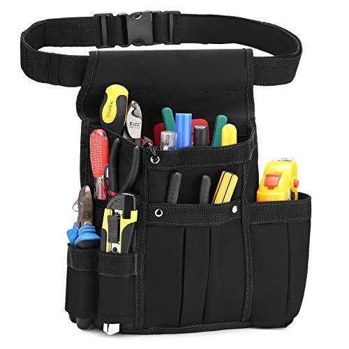 BAIGIO Werkzeugtasche Werkzeug-Gürteltasche Hüfttasche Werkzeuggürtel für Werkzeug Hammer und Zubehör (Schwarz)