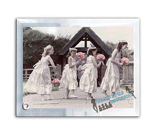 Generico Bonboniere für Zeitzeugen Lumenglass Bilderrahmen Glas Foto-Souvenir Custom mit Foto für Hochzeit Taufe Bestätigung Kommunion 30 cm X 16 cm Italian Style Diffusion