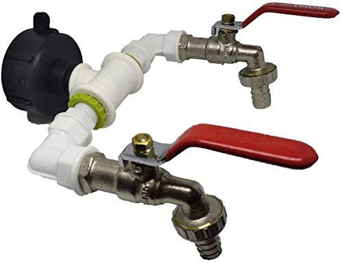 """IBC S60x6 - Grifo de desagüe doble salida 1/2"""" o 3/4"""" para depósito de agua de lluvia, conector de plástico y latón cromado para el jardín, la casa y la industria"""