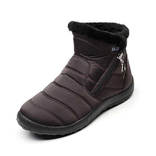 Womens Snow Boots Waterproof Brown Coffee Size 8 Women's Winter Boots for Ladies Girls Woman Warm Ankle Boots Booties Fur-Lined Rubber Zip Lightweight No Slip On Sale Fashion Cute Best
