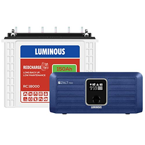 Luminous Zolt 1100 Inverter + RC 18000 150 Ah Tall Tubular Battery