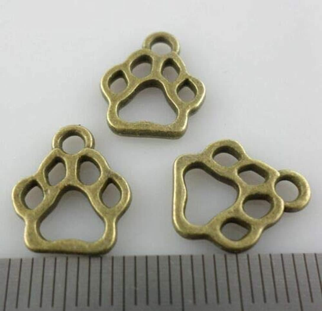 パスヨーロッパ制限FidgetGear 80 / 600pcsチベットSilveBronze犬猫足跡チャームペンダント11x13mm ブロンズ