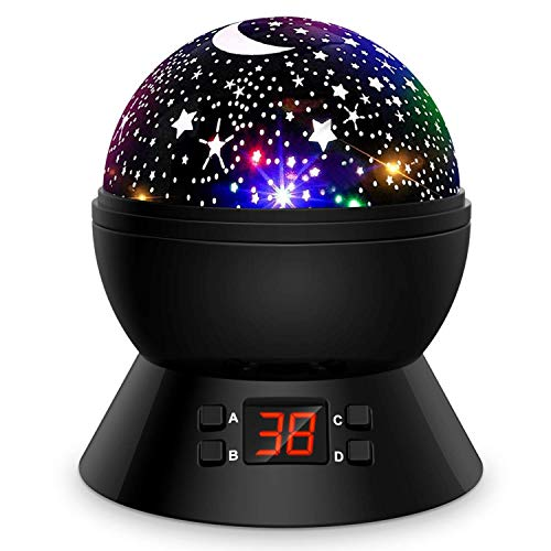 Star Projector, Night Lights for Kids 360-Degree Rotating Star Moon Projection Lamp with LED Timer Auto-Shut, Multicolor Stars Night Light Projector for Room Decor, Christmas Gift for Kids (Black)