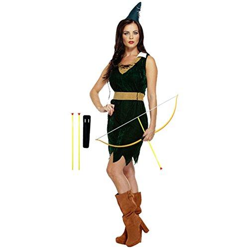 Spassprofi Samt Kostüm Jägerin Größe 38/40 und Pfeil- und Bogenset Jäger Frau Damenkostüm Robin Hood