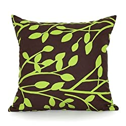 Chartreuse Branch & Dark Brown Throw Pillow Cover