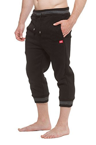 Ecko Unltd. Mens Fleece Capri Jogger Pants Black L