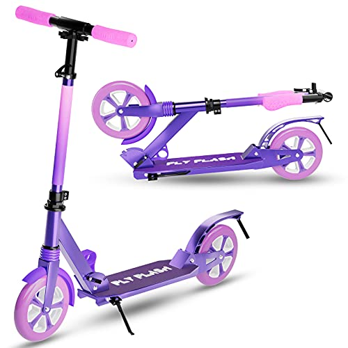 FlyFlash Kids Scooter/Adult Scooter-Scooter for Kids Ages 8 Years Old and up,Scooter for Adults with Big Wheels, Folding Sport Scooters for Kids,Teens and Adults -330 Lbs Weight Capacity