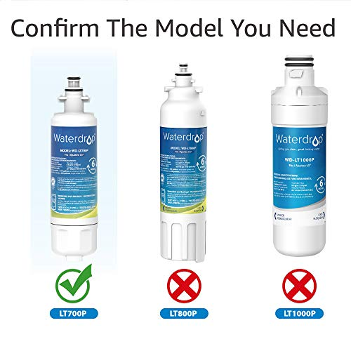 3 Pack Waterdrop LT700P Replacement for LG LT700P, ADQ36006101, KENMORE 469690 Refrigerator Water Filter