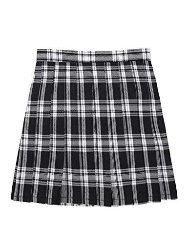 IEFIEL Falda Plisada Basico Mujer Mini Falda Escolar Falda Casual Corta Colegiala Uniforme Falda Escocesa Cintura Alta Elástica para Chicas Negro Cuadros S