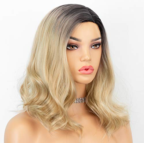 CHANTICHE Wavy Bob Wig Blonde Synthetic Wigs for Women Dark Roots Ombre Blonde Wig