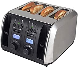 Mopoq Silver Bread Toasters Spit Driver Household Kitchen Breakfast Toaster 4 Slice Non-Slip Cooling Base 5 Gear Temperatu...