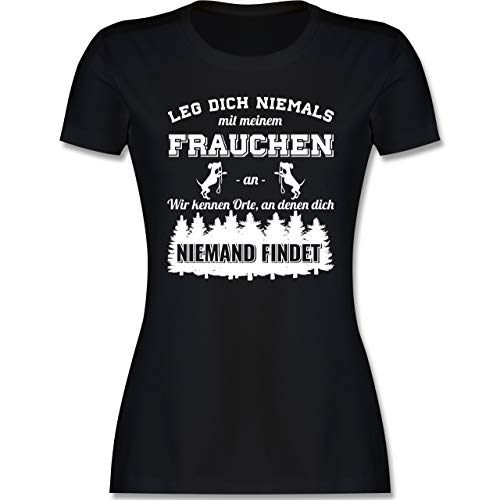 Hunde - Leg Dich Niemals mit Meinem Frauchen an - M - Schwarz - Tshirt mit Spruch Damen - L191 - Tailliertes Tshirt für Damen und Frauen T-Shirt