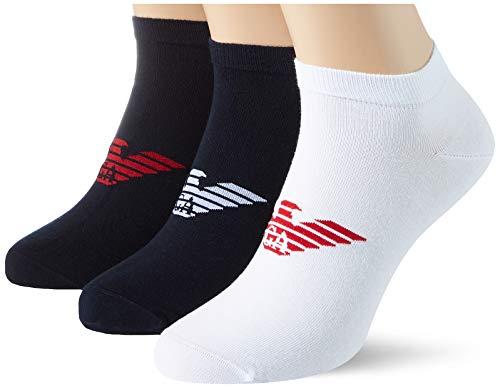 Emporio Armani Underwear Mens Shoe Socks Set 3Pack Casual, Blue/White/Blue, XS