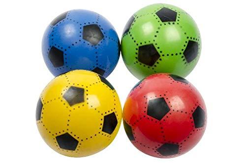 (82813) 4 Stück Fußbälle, bunt. ca. 20 cm, Toller Spielball, Wasserball, Fussball, PVC Ball