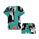 INTERESTPRINT Dog French Bulldog Happy Animals Pajamas Set for Women Sleep Shorts Soft Sleepwear S