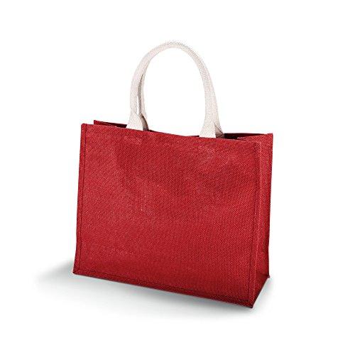 KiMood Damen Jute Strandtasche (2 Stück/Packung) (Einheitsgröße) (Weinrot)