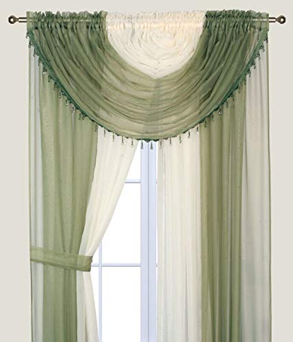 Elegant Home Complete Multicolor Window Sheer Curtain All-in-One Set with 4 Panels and 2 Valances With With Crystal Beads for Living Room, Dining Room, Or any other Windows- Laura (Sage Green / Beige)