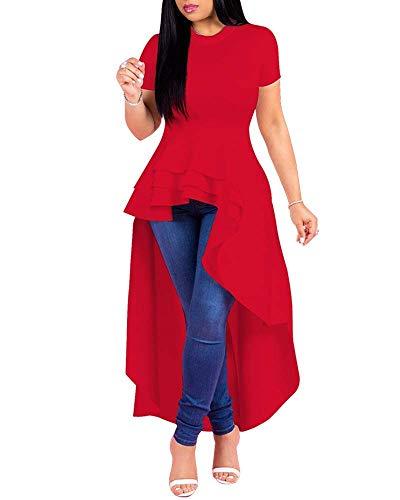 Womens Ruffle High Low Asymmetrical Short Sleeve Bodycon Tops Blouse Shirt Dress Red S