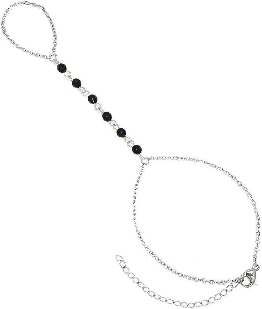 YOUCANDOIT2 Stainless Steel Finger Ring Bracelet Natural Agate Stone Tassel Bracelet Slave Finger Ring Hand Harness
