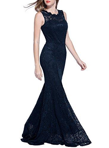 Miusol Damen Kleid Elegant Spitzen Sommer Rueckenfrei Aemerlos Langes Fishtail?Brautjungfer Cocktailkleid Dunkelblau Gr.L - 6