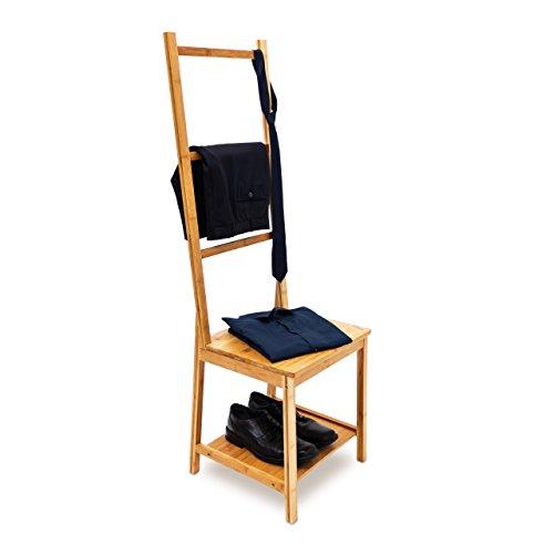 Relaxdays Kleiderstuhl aus Bambus als Herrendiener mit 2 Ablagen HBT 133 x 40 x 42 cm Stummer Diener aus Holz mit 3 Streben als Handtuchstangen Badstuhl mit Handtuchhalter oder Kleiderbutler, Natur
