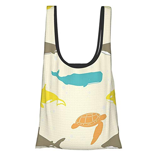 Sea Animals Decor Pattern With Whale Shark And Turtle Aquarium Decorative Doodle Style Reusable Grocery Bags, Eco-Friendly Shopping Bag
